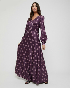 Lindy Bop 'Juno' Purple Checked Roses Vintage 70s Boho Maxi Dress BNWT Size 18.
