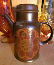 RARE Royal Doulton Marbella LS 1004 Brown Coffee Pot & Lid hand painted/glazed!