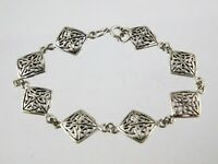Vintage Sterling Silver Celtic Knot Link Bracelet 7.75 Inch Length 925