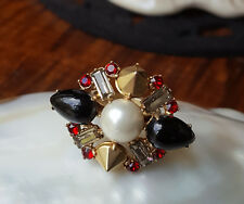 MIMCO~DESIGN~*FUNKY*~*COCKTAIL RING*~BLACK~RED~WHITE~PEARL~GOLD TONE~ SIZE *S*