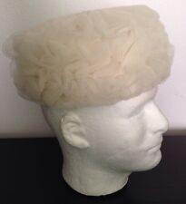 Vintage White Woman's Pillbox Style Hat Fluffy White Netting Union Made 6 3/4