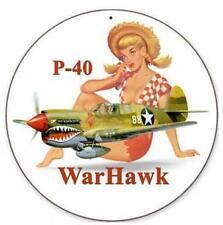 Pin Up Girl P-40 WarHawk Militay Metal Sign Man Cave Garage Club Shop Shed v441
