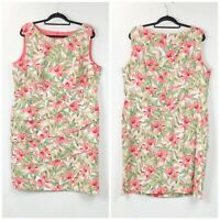 Connected Apparel 20W NWT Womens Coral Green Floral Print Ruffle Shift Dress