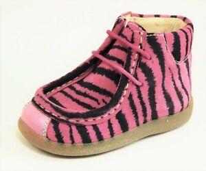 DE OSU-FARO - Girls Fuschia Pink Suede Zebra Boots -Shoes European 20 Size 4-4.5