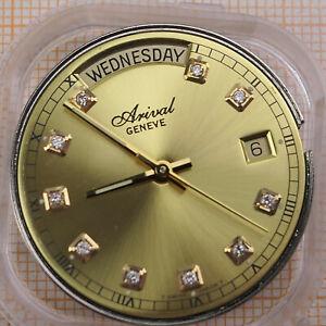 Uhrwerk ETA 2834-2, Automatik, Datum, Wochentag, Arival Zifferblatt, Diamanten