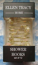 ELLEN TRACY GOLD COLOR METAL ROUND FILIGREE SHOWER CURTAIN HOOKS SET OF 12 NEW