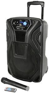 "QTX Busker 10 10"" Bluetooth Portable PA Speaker USB SD Radio + Wireless Mic"