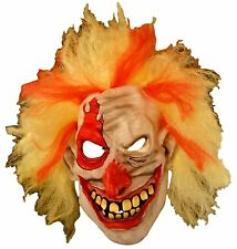 Creepy Killer Clowns Halloween Mask - Adult Yellow and Red Hair
