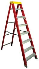 🆕✅ Fiberglass Aluminium Step Ladder 1.89m 8 Tread Light Weight Ladders Red 🚚💨
