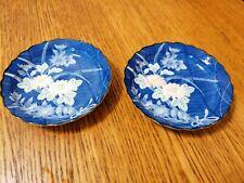 ORIENTAL PORCELAIN BOWLS COBALT BLUE FLORAL MAKERS MARK ON BASE