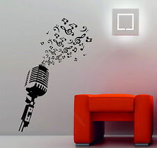 Microphone Music Notes Retro Studio Music DJ Decorative Vinyl Wall Sticker  Decal Part 96