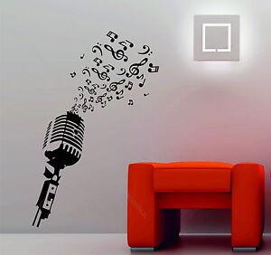 Microphone Music Notes Retro Studio Music DJ Decorative Vinyl Wall Sticker Decal