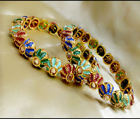 Indian CZ Bangles Bracelet Gold Plated With Meenakari Fashion Wedding Jewellery