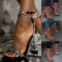 Women's Glitter Rhinestones Block Heel Sandals Party Crystal Ankle Strap Shoes