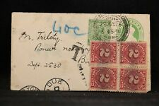 India: 1926 Cover to the USA, 8c Postage Due in 2c Block of 4
