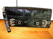 KATHY VAN ZEELAND Black Patent Silver Handbag CLUTCH Organizer Wristlet ~ XLNT!!