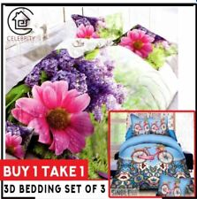 Celebrity Collection 3D Bedding Set Buy 1 Take 1 Floral & Pink Bike - Queen Size