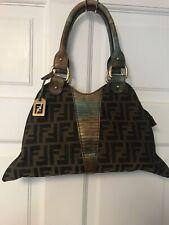 Authentic Fendi Zucca Diablo Handles Handbag Purse Leather Mulitcolor Rainbow