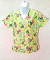 SB Scrubs Light Green Floral Print Nursing Medical Scrub Top 3 Pockets Size XS
