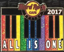 "Hard Rock Cafe BOSTON 2017 GAY PRIDE PIN Rainbow Keyboard ""ALL IS ONE"" HR #94219"