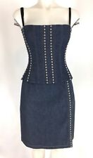 Dolce & Gabbana 2 Piece Studded Stretch Denim Bustier Corset Skirt Set Size 44