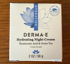 DERMA E Hydrating Hyaluronic Acid Green Tea Night Creme 2oz NEW IN BOX USA