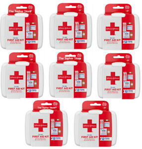 8 Pack Johnson & Johnson First Aid to Go First Aid Kits, 12 Item Kit, Band-Aid
