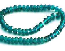 HALF STRAND OF NATURAL DARK BLUE / GREEN APATITE FACETED RONDELLE BEADS, 3 MM