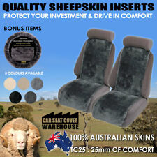 Sheepskin Inserts Car Seat Covers Inserts 25mm Thick Pair 5 Colours Airbag Safe!