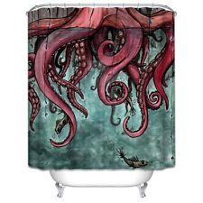 Octopus Tentacles Fabric Shower Curtain Ocean Fish 70x70