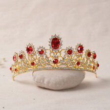 Fashion Wedding Bridal Red Crystal Gold Crown Tiara Hair Accessories Party Gift
