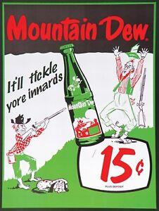 """Mountain Dew 15 cent Retro Vintage Nostalgic Reproduction Metal Tin Sign 9""""x12"""""""