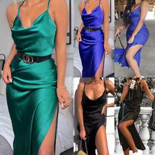 UK Women's Silky Satin Split Ladies Evening Party Bodycon Sleeveless Midi Dress