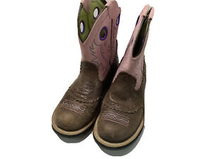 ARIAT Boots 7 BROWN TUMBLE LEATHER PINK WESTERN COWBOY