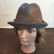 348aaa038c9 Dobbs Mens Vintage Brown Wool Tweed Suede Fedora Hat (Small Medium) (CH7