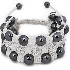 Unisex Bling Bracelet - SHAMBALLA 3 RANG blanc