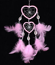 Pink Handband Dream Catcher with Feather Double Heart Net Car Wall Hanging Decor