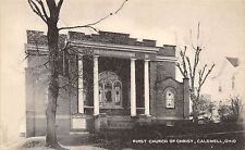 B74/ Caldwell Ohio Postcard Noble County c1940s First Church of Christ Building