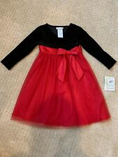 Nwts Bonnie Jean Girls Holiday Christmas Dress Size 4 Black Velvet Red Tulle