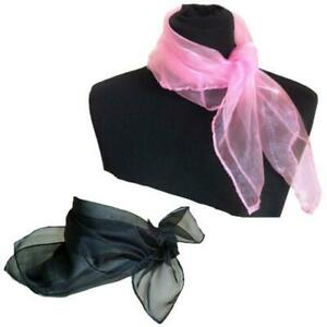 Neck scarf Women Ladies 50s Square Chiffon Head Scarves Pink or Black costume