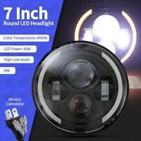 "1pc 7"" LED  BLACK HALO HEADLIGHTS FOR LAND ROVER DEFENDER 90 110"