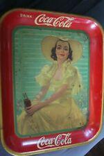 Vintage Original 1938 Coca Cola Tray Lady In Yellow Coke Soda Advertising Ohio