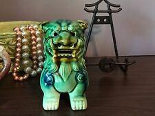 Green glazed Asian Foo Dog 19th century Pottery Komainu Guardian Lion