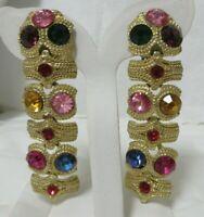 Vintage Gold Tone Multi-Colored Rhinestone Clip-On Dangle Earrings