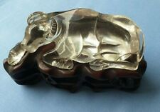 More details for antique buffalo leaded crystal lying down on oriental carved shaped stand