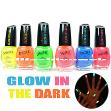 SANTEE GLOW IN THE DARK ROUND BOTTLE NAIL POLISH LACQUER COLLECTION ! LOT OF 6