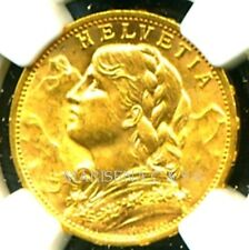 SWITZERLAND 1930 B GOLD COIN 20 FRANCS * NGC CERTIFIED GENUINE MS 63 * LUSTROUS