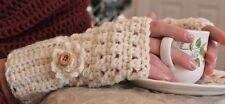 Cream Handmade Crochet Fingerless Gloves Arm Warmers Hand Warmers