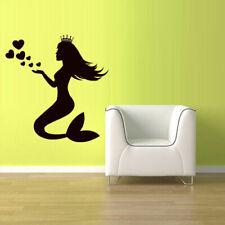 Wall Vinyl Sticker Bedroom Decal Sea Ocean Mermaid Hearts Crown Nymph (Z2443)