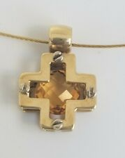 14k Yellow Gold Citrine Cross Pendant Necklace